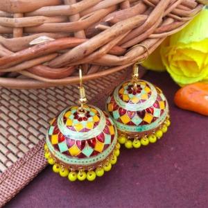 Red Yellow Pearl Meenakari Jhumki Earring
