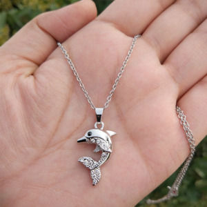 Silver Colour Dolphin Pendant Chain for Girls