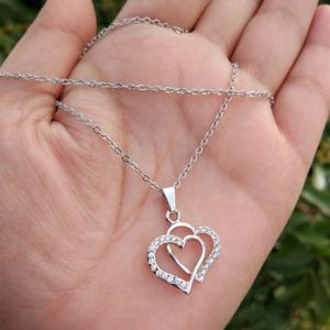 Silver Colour Heart Pendant Chain for Girlfriend