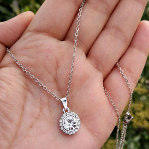 Silver Colour Round Pendant Chain for Girls