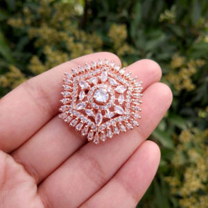 Sparkling Cubic Zirconia Rose Gold Adjustable Finger Ring