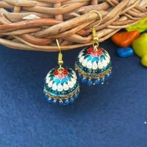 White Blue Pearl Small Jhumka for Girls