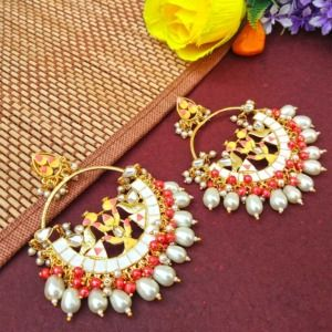 White Pearl Meenakari Celebrity Earrings