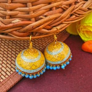 Yellow Blue Pearl Meenakari Jhumki Earring