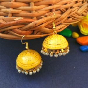 Yellow Color Jhumka for Salwar Suit