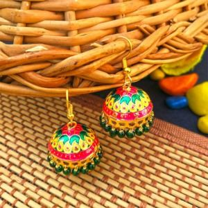Yellow Green Pearl Small Jhumka for Girls