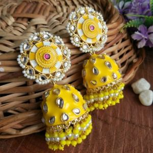 Yellow Jhumka Earrings for Lehenga Choli