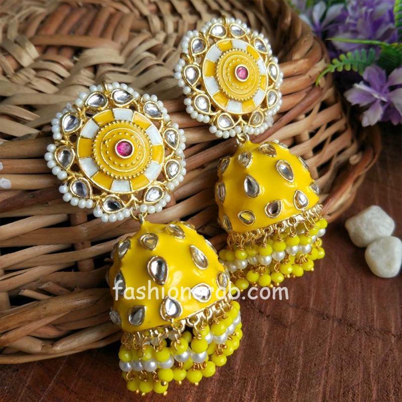 Yellow Jhumka Earrings for Lehenga Choli