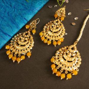 Yellow Pearl Jadau Earrings with Tikka