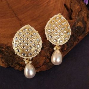 Antique Kundan Pearl Drop Earrings for Girls