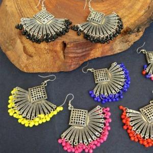 Beaded Oxidised Earrings for Girls