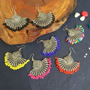 Beaded Oxidised Earrings for Girls