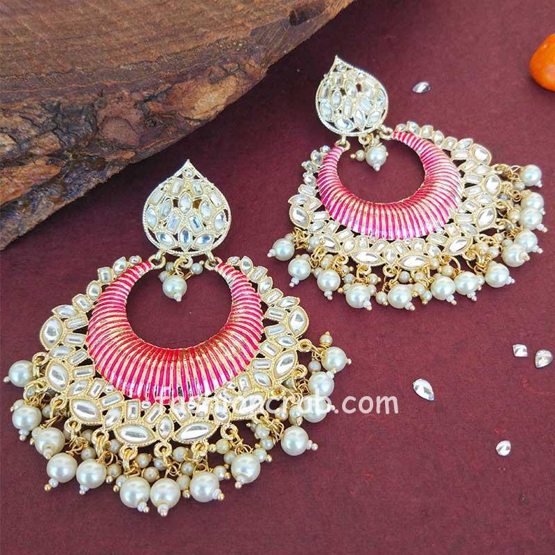 Big Pink Enamel Kundan Earrings for Girls