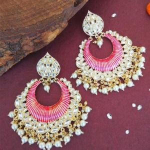 Big Pink Enamel Kundan Earrings for Girls