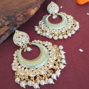Big Pista Green Enamel Kundan Earrings for Girls