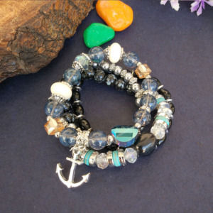 Black Blue Pearl Charm Bracelet for Girls