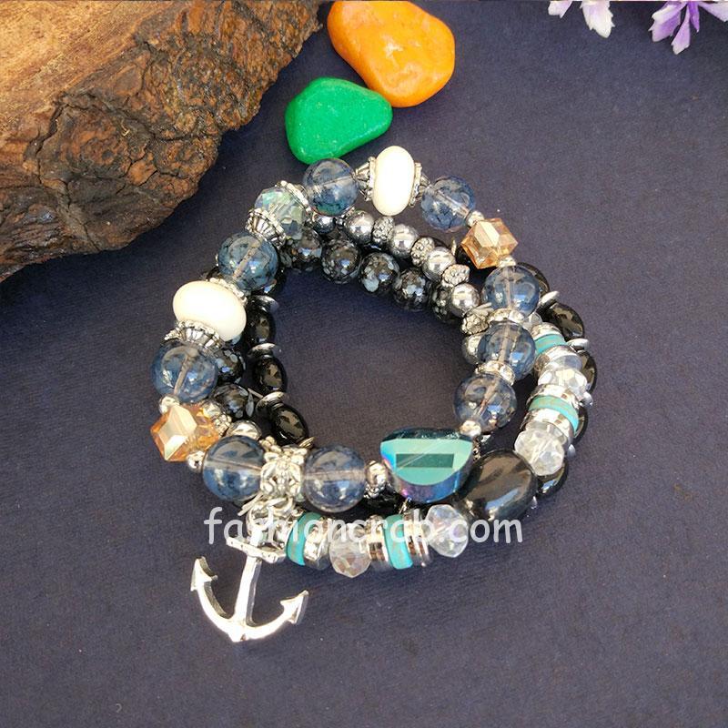 Black Blue Pearl Charm Bracelet for Girls