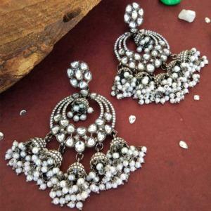 Black Metal Earrings for Black Saree