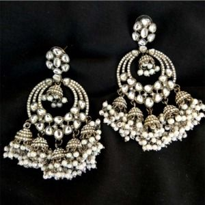 Black Metal Earrings for Black Saree