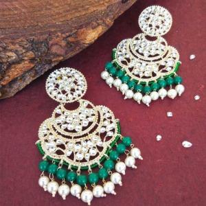 Bollywood Green Pearl Kundan Chandbali Earrings