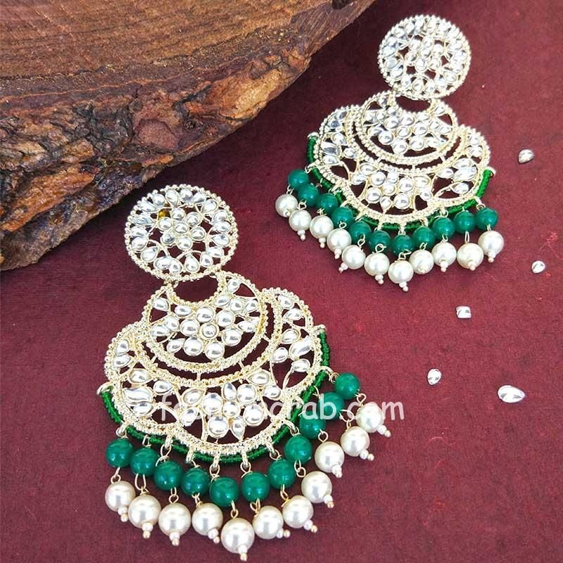 Bollywood Green Pearl Kundan Chandbali Earrings