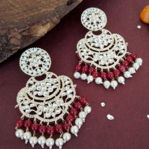 Bollywood Maroon Pearl Kundan Chandbali Earrings