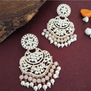 Bollywood Peach Pearl Kundan Chandbali Earrings