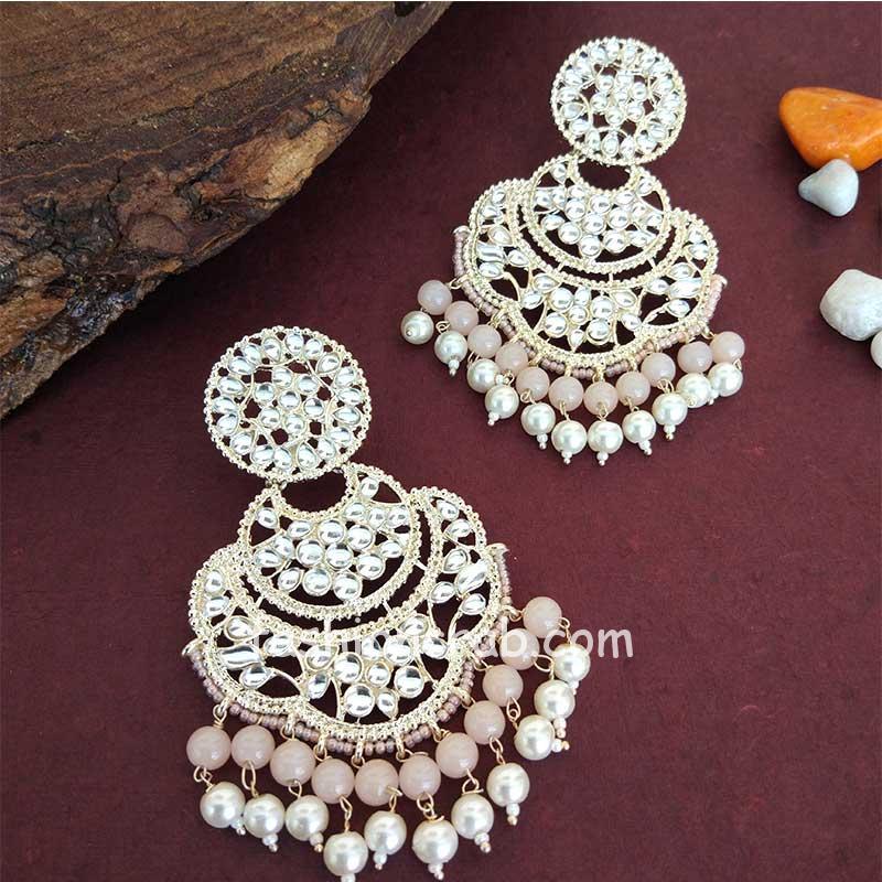 Bollywood Peach Pearl Kundan Chandbali Earrings