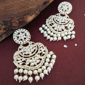 Bollywood White Pearl Kundan Chandbali Earrings
