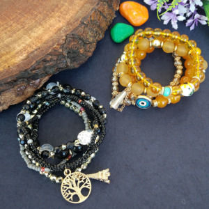 Combo of Black & Yellow Bracelet for Girls