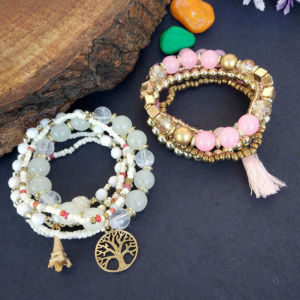 Combo of White & Pink Bracelet for Girls