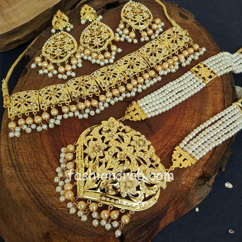 Cream Colour Pearl Jadau Necklace Set for Punjabi Bride