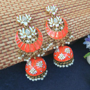 Floral Stone-Studded Meenakari Orange Jhumka for Wedding