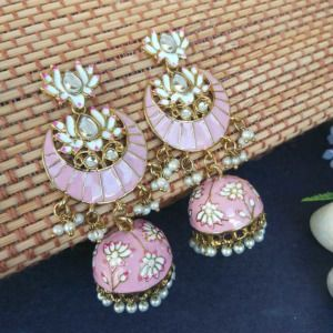 Floral Stone-Studded Meenakari Pink Jhumka for Wedding