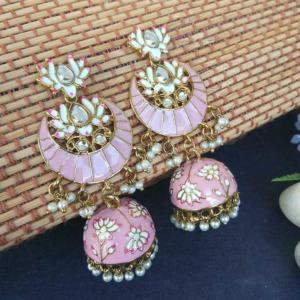 Floral Stone-Studded Meenakari Pink Jhumka for Wedding