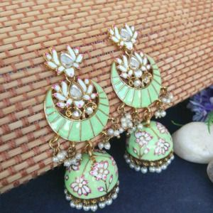Floral Stone-Studded Meenakari Pista Green Jhumka for Wedding