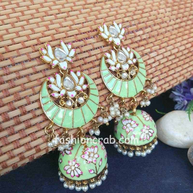 Floral Stone-Studded Meenakari Pista Green Jhumka for Wedding