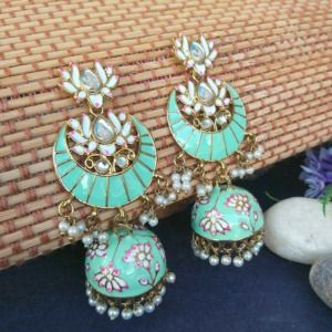 Floral Stone-Studded Meenakari Sea Green Jhumka for Wedding