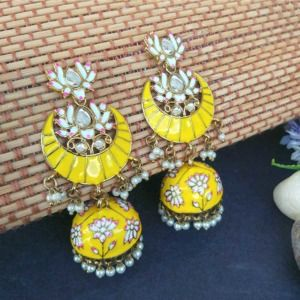 Floral Stone-Studded Meenakari Yellow Jhumka for Wedding