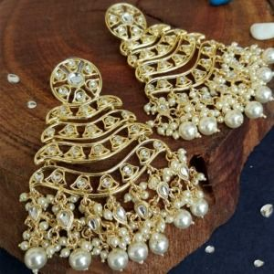 Gold Tone Layered Kundan Earrings for Girls
