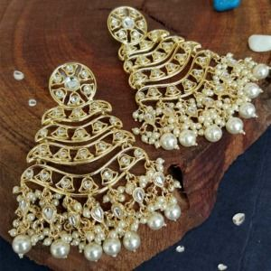 Gold Tone Layered Kundan Earrings for Girls