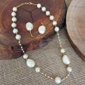 Long Pearl Chain Necklace with Earring for Women