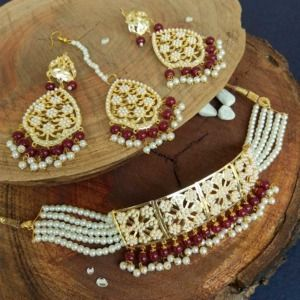 Maroon Colour Pearl Jadau Choker Set for Punjabi Bride