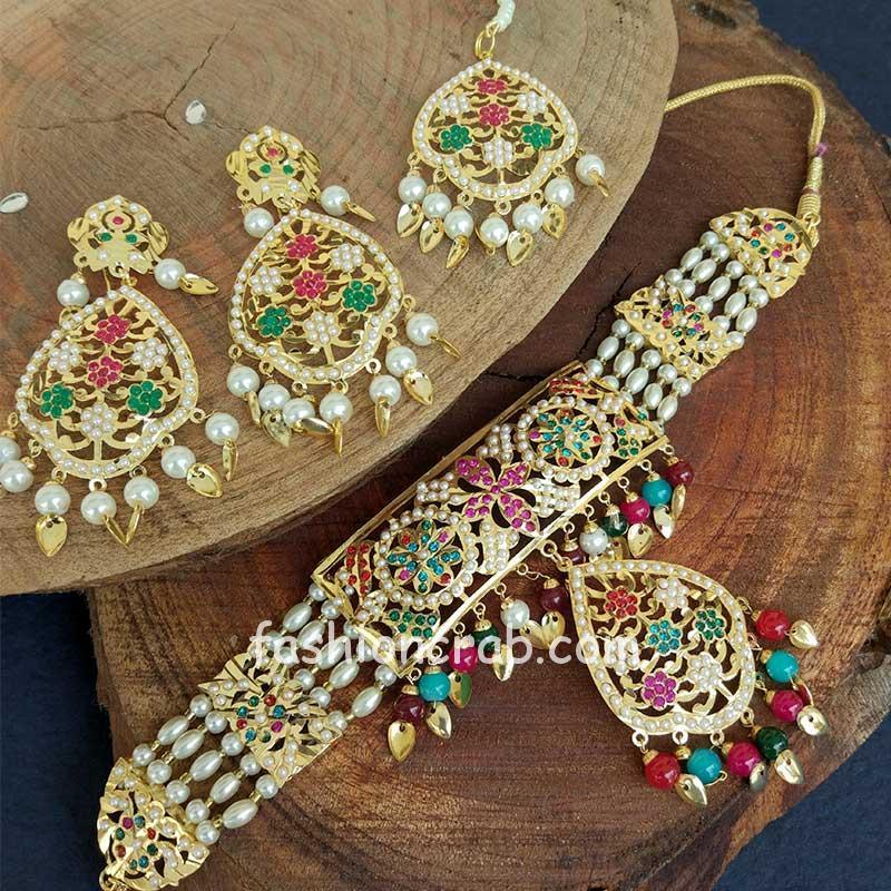 Multi Colour Pearl Jadau Choker Set for Punjabi Bride