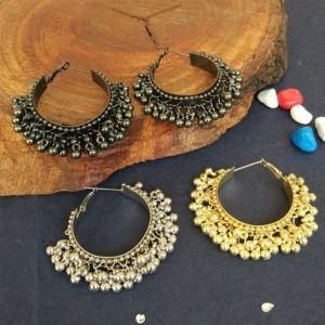 Oxidised Hoop Ghungroo Earrings for Girls