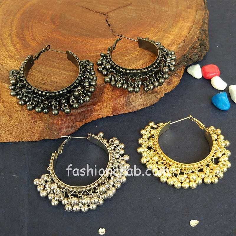 Oxidised Hoop Ghungroo Earrings for Girls