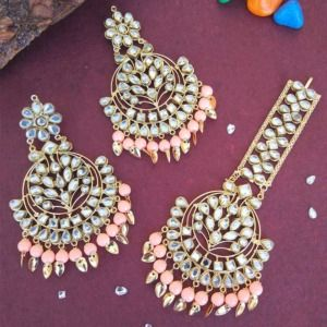 Peach Colour Punjabi Kundan Earrings with Maang Tikka