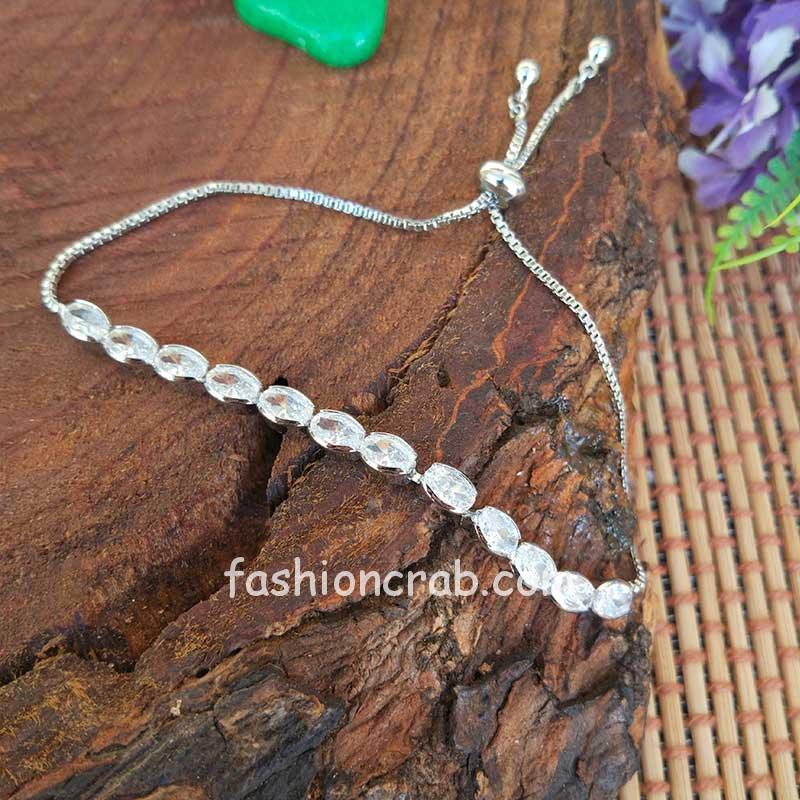 Rhodium Plated Hand Bracelet for Women