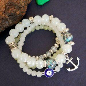 White Pearl Charm Bracelet for Girls