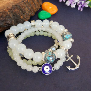 White Pearl Charm Bracelet for Girls